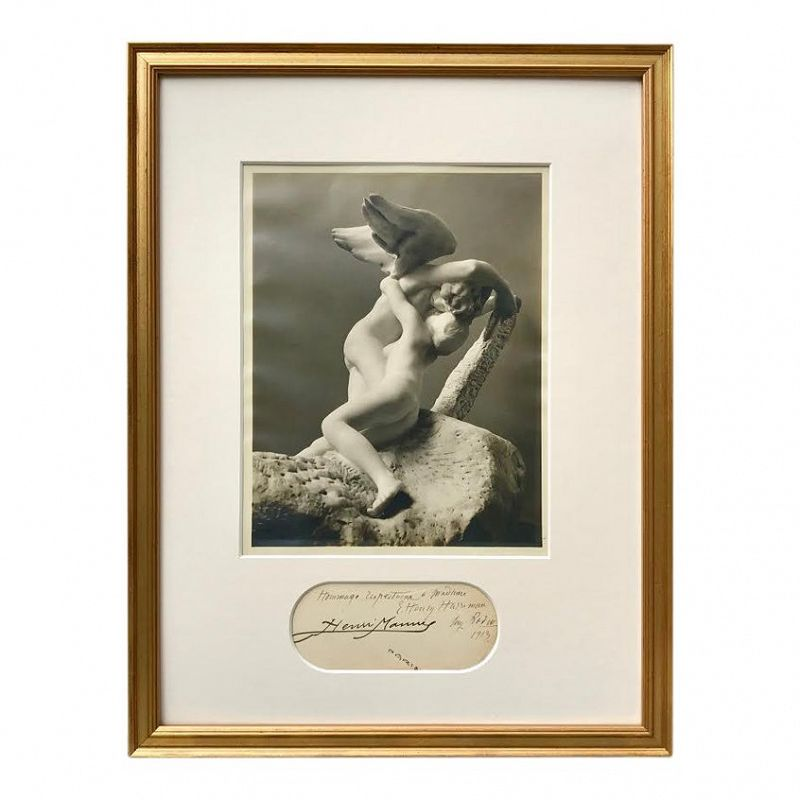 Antique Photograph Rodin's Sculpture of Cupid Signed by Auguste Rodin