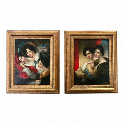Antique Portraits of Women Manner of George Henry Harlow