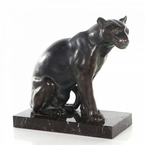 Original Vintage French Art Deco Bronze of a Panther by Max Le Verrier