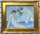"""Antique Post Impressionist Oil Painting """"The Bathers"""""""