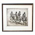 Vintage Original Western Cowboy Art Etching by Edward Borein