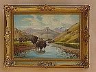 Buffalo Herd  Western Cowboy Artist J. Rorphuro