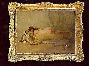 Nude on Bearskin Rug Orientalist A. Goldwhite