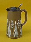 Doulton Lambeth Stoneware pitcher fern flower appliqué