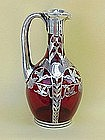Ruby Red Sterling silver overlay glass decanter