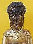 Chinese antique Gilt Wood Ancestor figure or Emperor