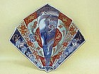 Japanese Imari porcelain fan shaped bowl dragon design