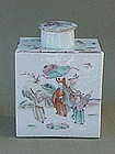 Chinese Export Famille rose porcelain tea caddy c.1800