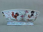 Chinese Famille rose porcelain bowl with chickens 1880
