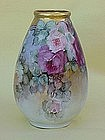 Limoges Porcelain Floral Rose Vase hand painted