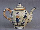 French Henriot Quimper pottery tea pot folk art
