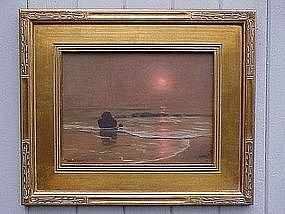 Robert Wood tonalist Laguna seascape at sunset oil