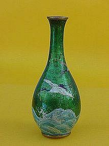 Japanese Cloisonne ginbari Vase cranes