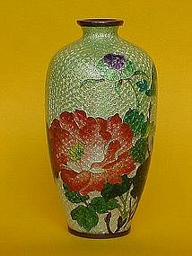 Japanese Cloisonne ginbari floral vase silver wire