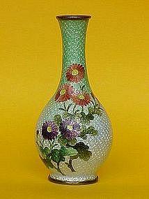 Japanese Cloisonne Vase Flowers ginbari c. 1900