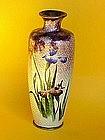 Japanese Ginbari Cloisonne Vase purple Iris