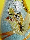 Japanese wireless cloisonne enamel dragon vase signed