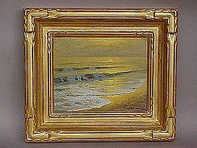 Robert Wood Laguna Beach seascape at sunset oil c.1950