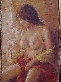 Alfred Simonpietri Impressionist nude oil young girl