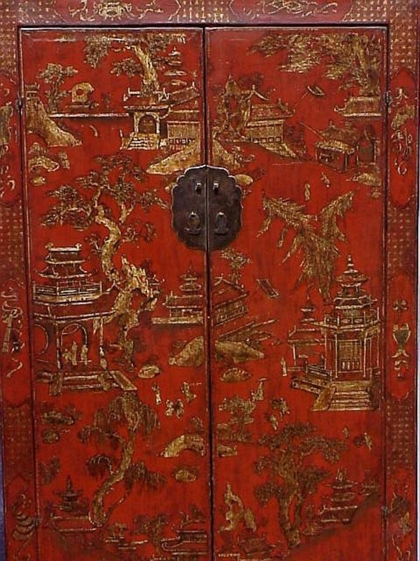 Chinese Wedding Cabinet fine Chinosserie antique c.1860