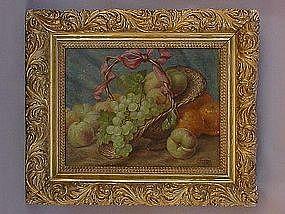Flemish Still life of fruit and basket  oil P Themmen