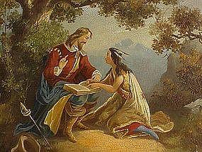 Pocahontas 19th century Native American Art oil on tin