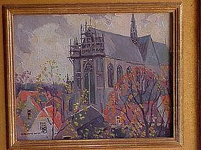 "Jessie Arms Botke titled ""Holland Church"" oil painting"