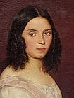 Antique Portrait Beautiful young Girl  oil Korle 1844
