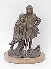 """""""Cow Girls"""" Bronze By Edward Fraughton Western artist"""