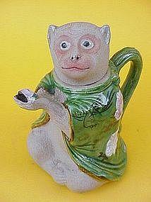Japanese Art Banko pottery Monkey tea pot glazed