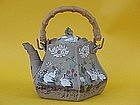 Japanese Banko art pottery tea pot cranes signed