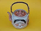 Japanese Sumidagawa pottery tea pot noh mask faces