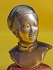 Chinese bronze bust of a Beautiful maiden