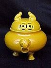 Chinese Imperial yellow porcelain censer frogs c.1850