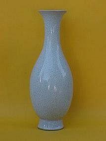 Chinese Qing Dynasty Robins egg blue crackel glaze vase