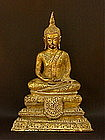 Thailand Buddha Sukhothai Style gilt bronze c.1840