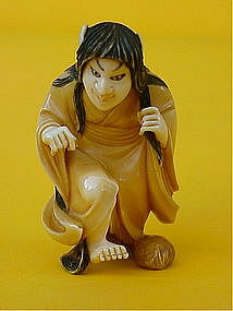 Japanese Ivory Netsuke Female Witch Noh figure signed