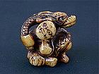 Japanese Ivory Netsuke of Oni & Dragon 1890s