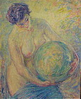 William Malherbe French impressionist nude with sphere