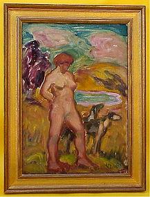 Harold C. Davies California modernist nude in landscape