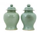 2 Chinese Celadon Covered Porcelain Jar Vase Mk