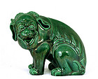 Old Chinese Green Glaze Porcelain Fu Dog Lion