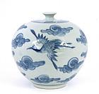 Korean Blue & White Vase Crane