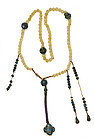20C Chinese Cow Bone Carved Bead Enamel Court Necklace