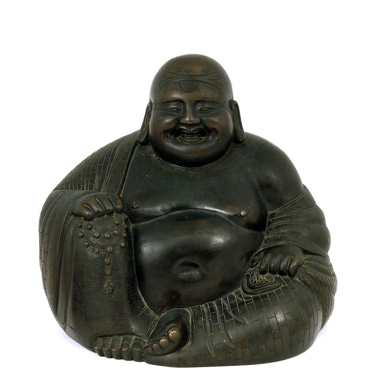 19C Chinese Bronze Happy Buddha Figurine
