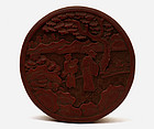 Early 20C Chinese Lacquer Round Box Figurine