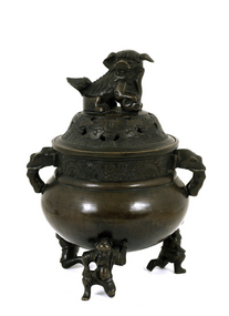 Early 20C Chinese Bronze Fu Dog Lion Censer Figure