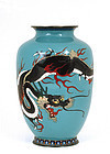 Old Japanese Silver Wire Cloisonne Dragon Vase