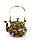 Old Japanese MilleFleur Gilt Cloisonne Teapot Butterfly