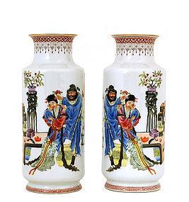 2 Chinese Famille Rose Vase Figurine Mk
